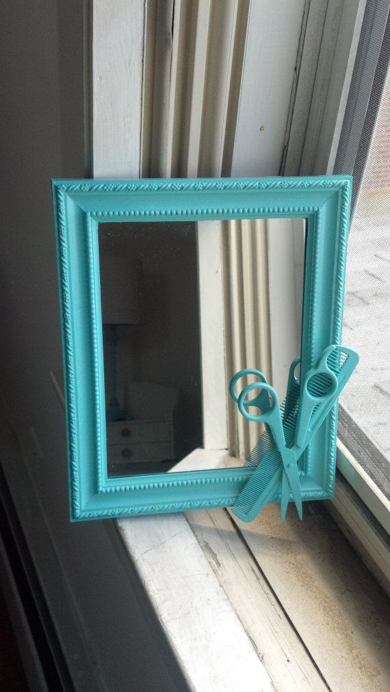 teal hairstylist shears mirror, would be a cute idea for a gift if you have family members who are hair dressers and you could make this