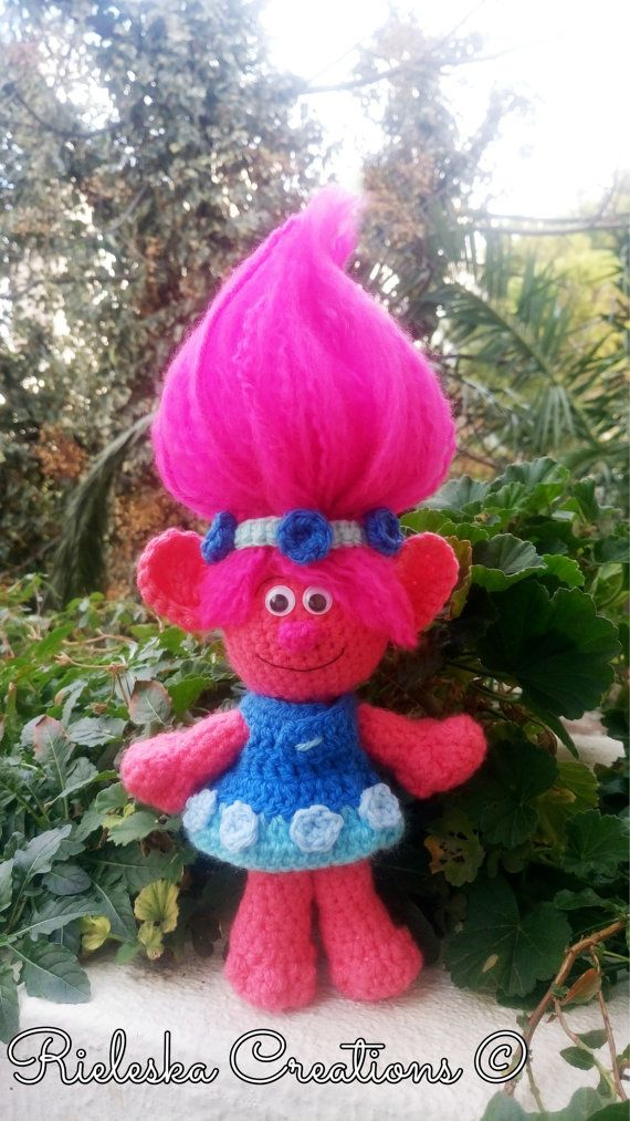 Poppy Troll from the Movie Trolls - Crochet Pdf Pattern / amigurumi- Trolls  Price is for the pattern only, not the finished product  Finished Size: Approximately 10 inches - 25 cm tall without Hair  *Worsted weight yarn and hook size: 3,50mm*  There is no shipping charge for this item, as it is a PDF file and will be sent almost direct of payment. If you dont receive it within 24 hours, please, contact me.  All patterns are written in standard American terms.  You can always contact me ...