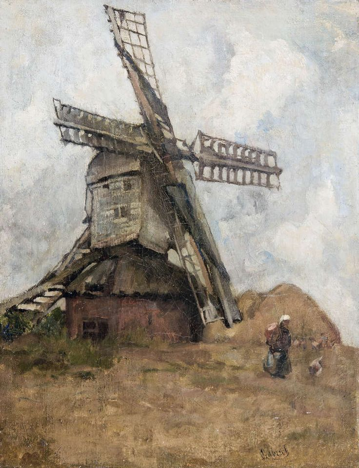 Woman in front of a mill | From a unique collection of landscape paintings at http://www.1stdibs.com/art/paintings/landscape-paintings/