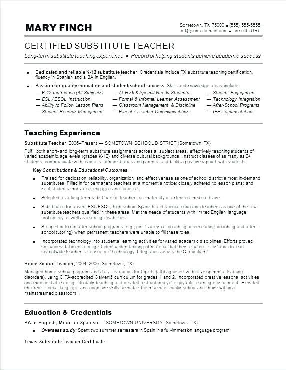 Format For Teacher Resume Resume Example Teacher Resume Sample