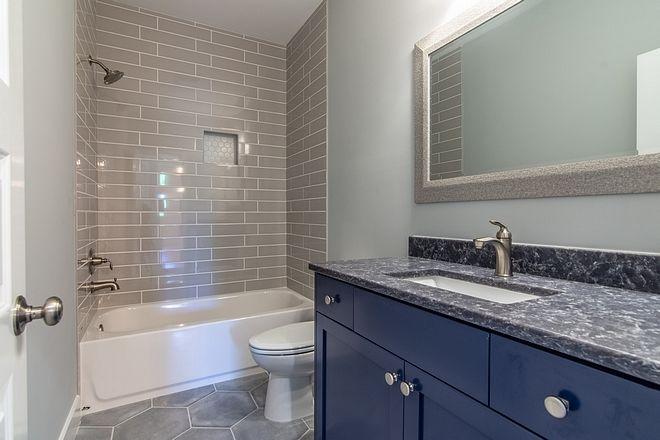 Navy Vanity Paint Color Sherwin Williams Indigo Batik Countertop Is Silestone Ocean Storm Cabinet Ha Blue Countertops Dream Kitchen Island Bathroom Design