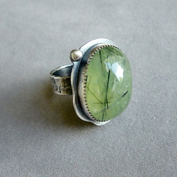 Green Prehnite Sterling Silver Ring Size 7 by PearlinaStudio, $129.00