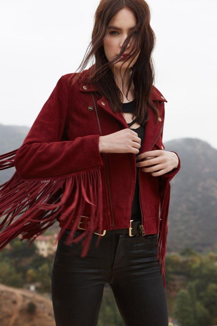 Model wears Lady Stardust Fringe Suede Jacket, One Teaspoon Scallywags Coated Skinny Jeans for lookbook photoshoot