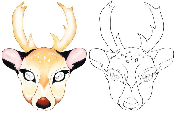 We've created a black and white Deer mask and colored Deer mask, choose your preference. Then cut all around, cut holes for the eyes, and punch a sm...