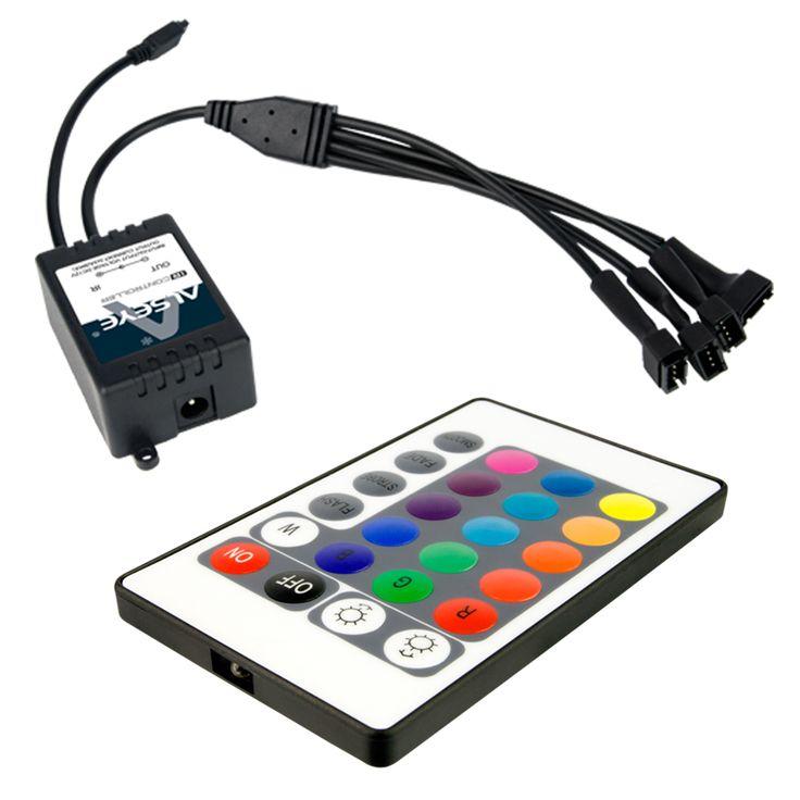 Вентиляторы ALSEYE компьютер Инфракрасный пульт дистанционного управления светодиодной подсветкой RGB с RGB полосы набора 2 120мм вентилятор 12В, 1300об / мин & 2 полоски за 10 цветов