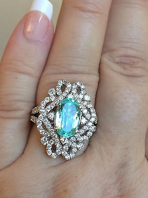 Stunning k gold ct gia certified unheated neon paraiba tourmaline diamond ring