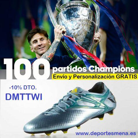 Hoy #LeoMessi alcanzará 100 partidos jugados en la #UEFA Champions League. Para celebrarlo te regalamos el cupón descuento DMTTWI + Envíos + Personalización: http://www.deportesmena.es/botas-adidas-linea-messi/