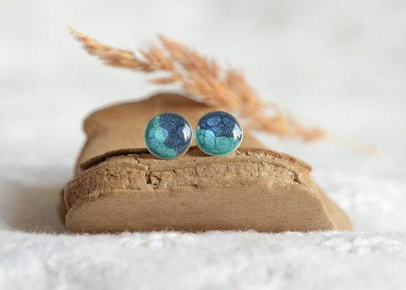 Blue stud earrings small two tone blue ear studs by BalanceAtelier