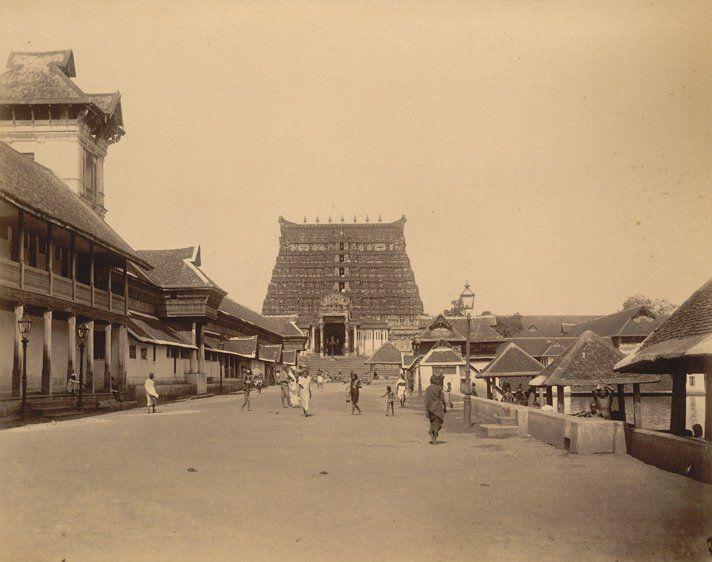 East entrance & Gopura of Sree Padmanabhaswamy Temple, Trivandrum, in the erstwhile Travancore
