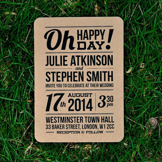 Recycled Rustic Wedding Invitation  'Slim Block by twoforjoypaper, $3.75
