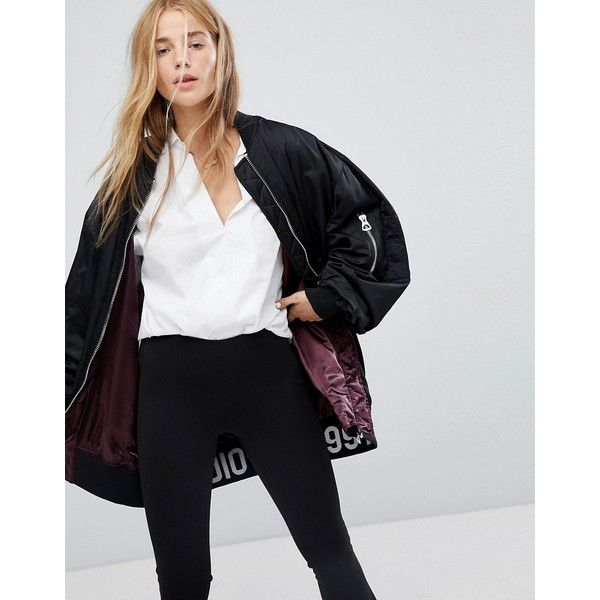 Pull&Bear Longline Bomber Jacket (1.955 RUB) ❤ liked on Polyvore featuring outerwear, jackets, black, zipper pocket jacket, zip bomber jacket, fleece-lined jackets, floral-print bomber jackets and denim jacket