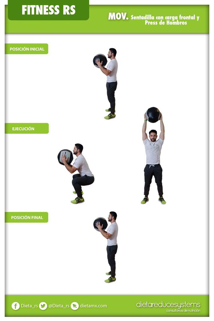 SENTADILLA FRONTAL CON PRESS DE HOMBROS  Este ejercicio te ayuda a desarrollar fuerza funcional a través del traslado de un objeto en forma vertical por encima de la cabeza.  Además, trabajas cuádriceps, isquiotibiales, glúteos, abdomen, parte baja de la espalda y hombros.  #fitness #GYM #weightloss #diet