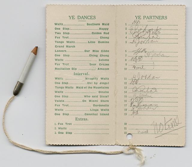 Line up ye partners! Swansea Uni Annual Ball Dance Card, 1922