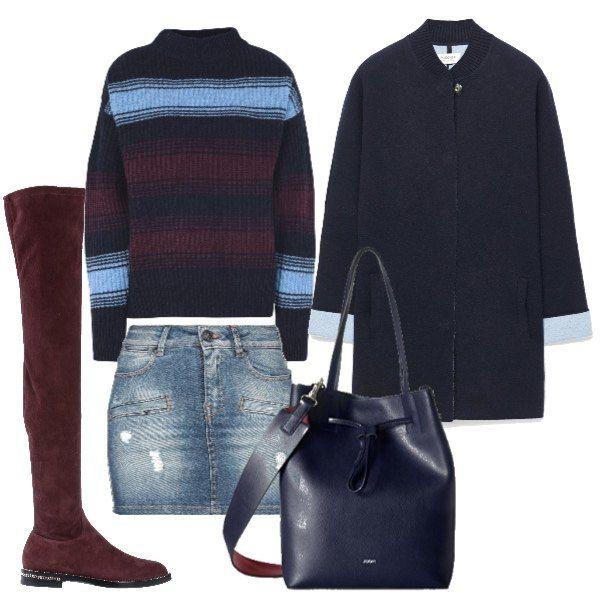 comprare on line 5dbd0 27028 Outfit composto da mini in jeans abbinata a maglia a righe e ...