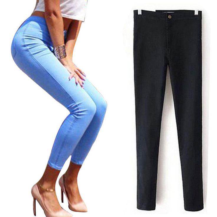 Moda Vaqueros Negros femeninos Lápiz Elástico Delgado Jeans Denim Mujer las mujeres de Cintura Alta Jeans Femme Big Push Up Jeans Para Mujeres