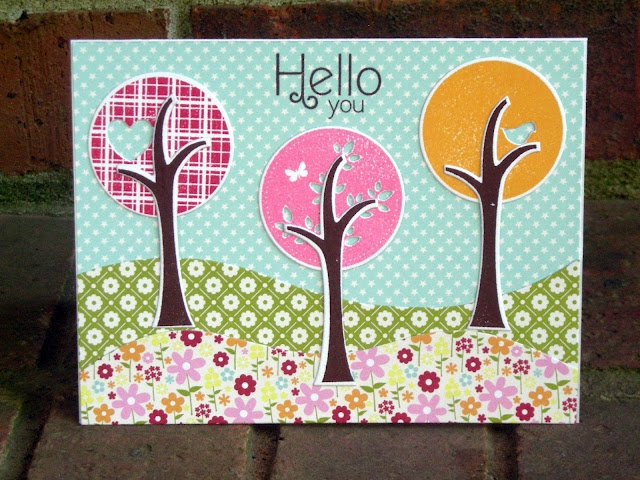 patterned papers for flowers and grass: Cards Design, Cards Ideas, Hello Cards, Handmade Cards, Cards Cricut, Cards Great Hobbies, Cards Inspiration, Cards Pti, Homemade Cards