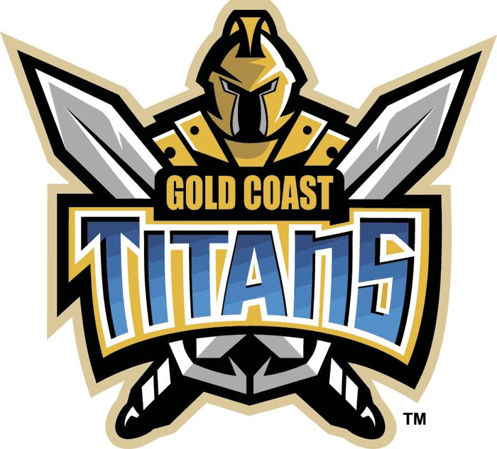 Gold Coast Titans Primary Logo (2007) - A gladiator in gold with two crossed swords