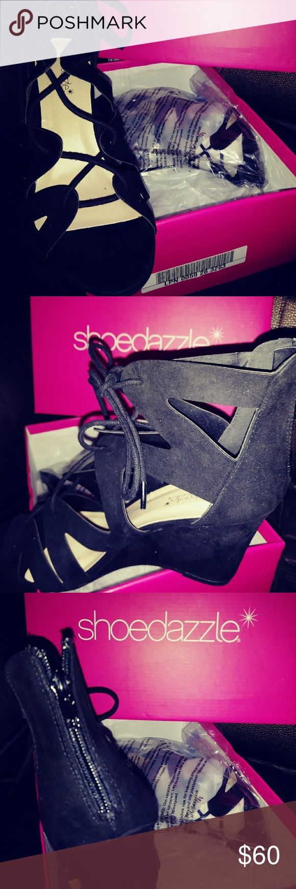 Brand New Bkack suade sandels. Zipper back Beautiful black suede sandals lace front zipper in the back size seven and a half number one brand new from ShoeDazzle I paid $69 and I'm selling them for 60 dollars. I ordered the wrong size I love them I wish they fit Shoe Dazzel Shoes Sandals