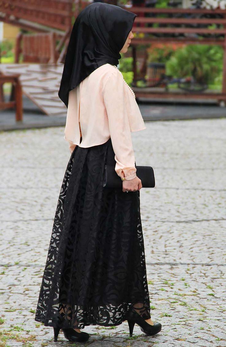 Dantel Tasarım Prenses Etek - Siyah