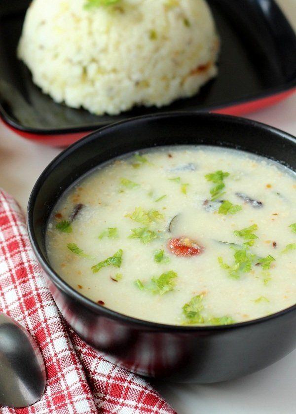 Farali Kadhi Recipe (Gujarati Farali Kadhi): Fast kadhi recipe for upwas, ram navmi, shivratri, janmasthami, navaratri, ekadashi festival.