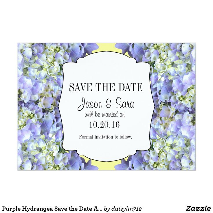 Purple/lavender hydrangea is the background on the elegant Save the Date wedding announcement. Visit my store at www.zazzle.com/daisylin712 to find matching wedding invitation and RSVP. The background color can be change by choosing the customize button.
