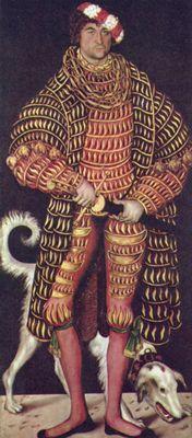 """Enrique, duque se sajonia, luciendo un imponente atuendo que muestra el estilo conocido como """"acuchillado"""" en el jubón, el abrigo y el calzón."""