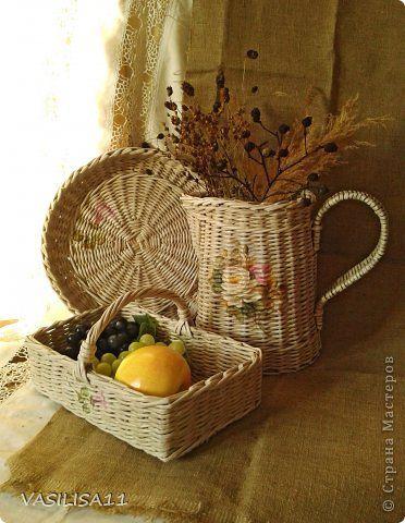 Поделка изделие Плетение Весна +плетеночки  Бумага газетная Трубочки бумажные фото 1