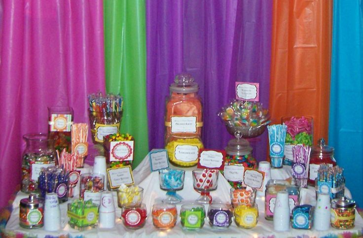 Plastic Backdrops for Parties | Marissa's Candy Buffet. The backdrop is plastic table covers from the ...
