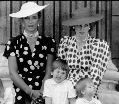 Princess Diana with Princess Michael of Kent, Prince William and Prince Harry. (Everett Collection/Mirrorpix)