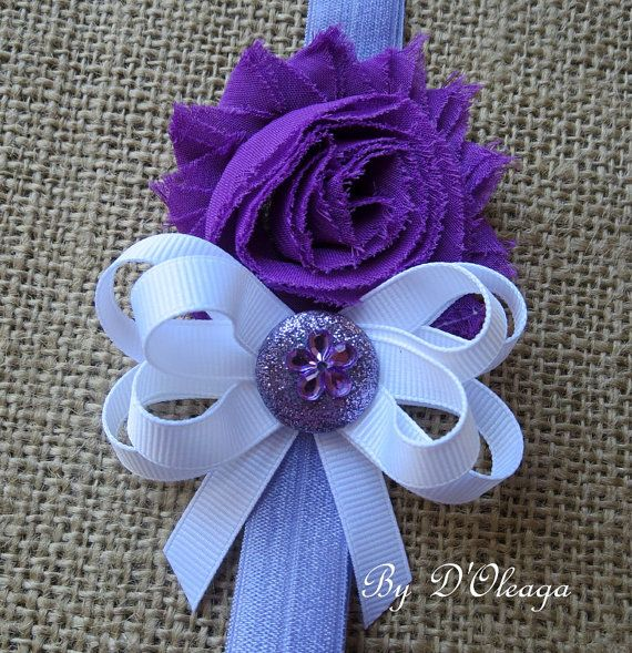 Purple Baby Girls Headband- Girls Headband- Shabby Chic-  Purple Headband- Stretch Headband- Elastic Headband- Gift- Made to Order!!!!