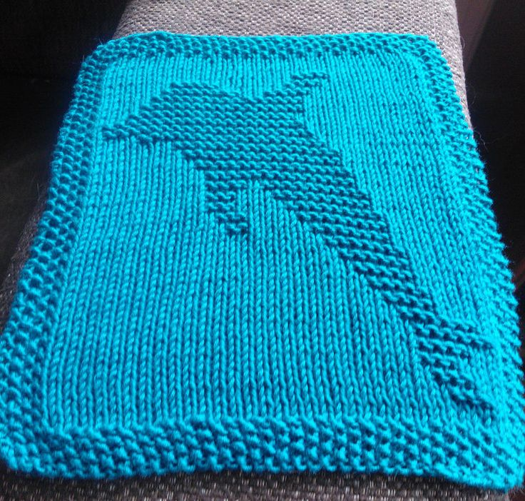 Free Knitting Pattern for Dolphin Wash Cloth - Celebrate National Dolphin Day with this dolphin motif block for dish or wash cloths, afghans, and more. Designed by Kelly Daniels. Pictured project by Hellioz