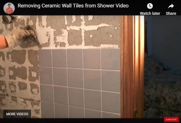 Removing Ceramic Wall Tiles From Ceramic Tile Shower Video Diy Wall Tile Removing Bathroom Tile Tiles