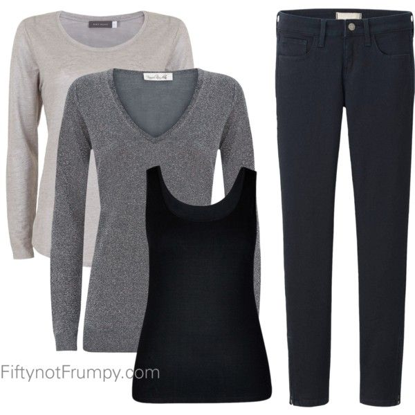 Fifty, not Frumpy: Basic Wardrobe The next elements I need are three tank tops and/or three nice blouses in silver/gray, white, and black and three long sleeve simple tees in gray, white and black which can be worn with or without the blazers. Note the simple lines and plackets on the blouses. I will need simple scooped or V-necklines, small collars (if at all) and no ruffles, pockets that add volume to the bust area. I often have to buy a size larger in a button style blouse to avoid gap