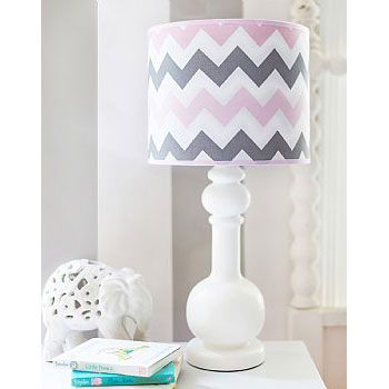 Pink and grey chevron lamp shade
