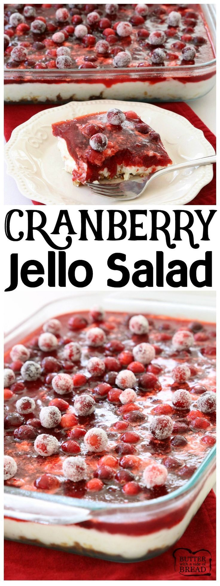 Cranberry Jello Salad made with 3 festive, delicious layers of pretzels, pudding, cranberries & Jello! Impressive, easy addition to your #holiday #dinner. #Cranberry #Jello #Salad recipe perfect for #Thanksgiving and #Christmas from Butter With A Side of  (jello fruit snacks)