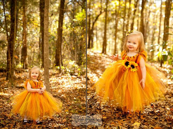 Fall tutu dress for an Autumn Princess size by AllDressedUpCouture, $40.00