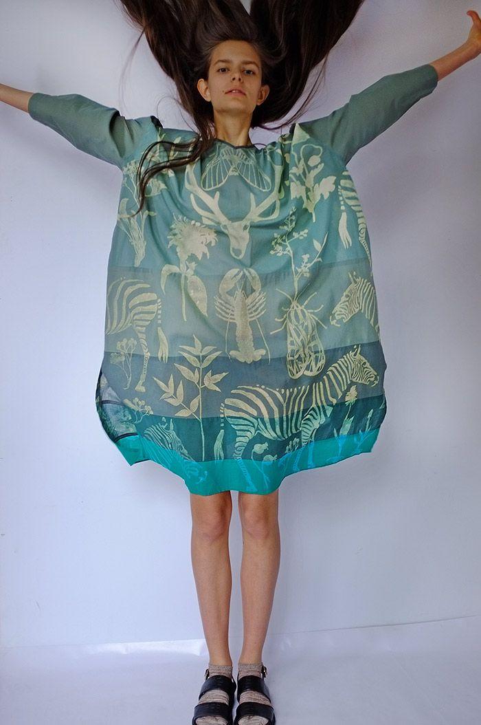 Masha Lamzina: Nature Print Green Dress