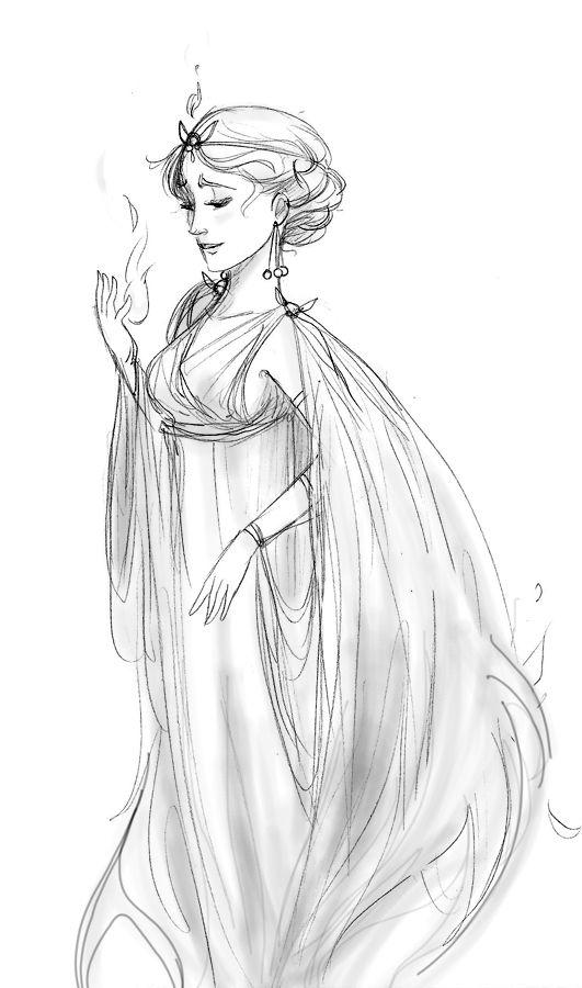 Evalin. Un antiguo boceto de Hestia, o Vesta, diosa del fuego del hogar, de la tradición y la arquitectura. Nadie le hace nunca caso, a pesar de que es incluso más importante que Zeus. Es una diosa amable que incluso le cede el puesto a Dionisio en los Olímpicos porque si no serían 13, y ese es un número desafortunado…