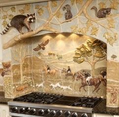 I would never leave this enchanted Kitchen!! This backsplash design is soo awesome ~ what a warm cozy feel!