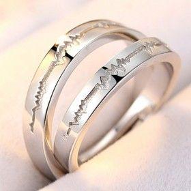 Jeulia Love - Coppia di anelli regolabili Lui e Lei in Argento S925
