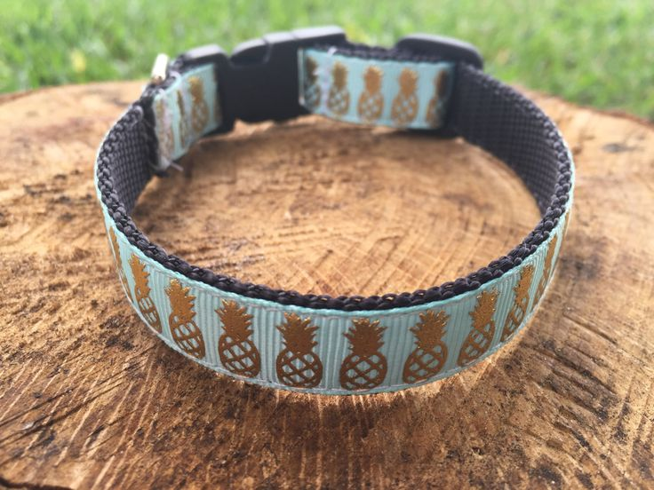 Pineapple Dog Collar - Pineapple Dog Leash - Pineapple Dog Harness - Summer Dog Collar - Girl Dog Collar - Gold Pineapple Dog Collar by LLDPetBoutique on Etsy