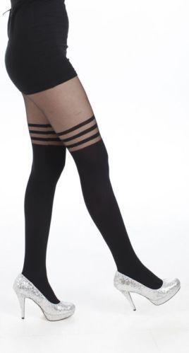WOW Opaque Sheer 3 Hoops Tights PIN UP Burlesque Gothic Vamp Roller Derby   eBay
