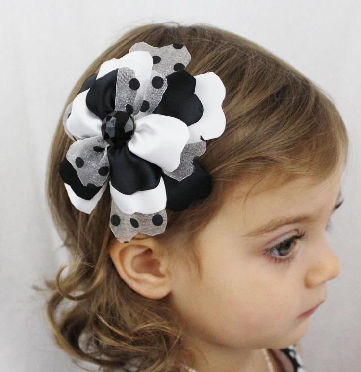 Black Flower Hair Accessory J7213: Black And White Flower Hair Bow