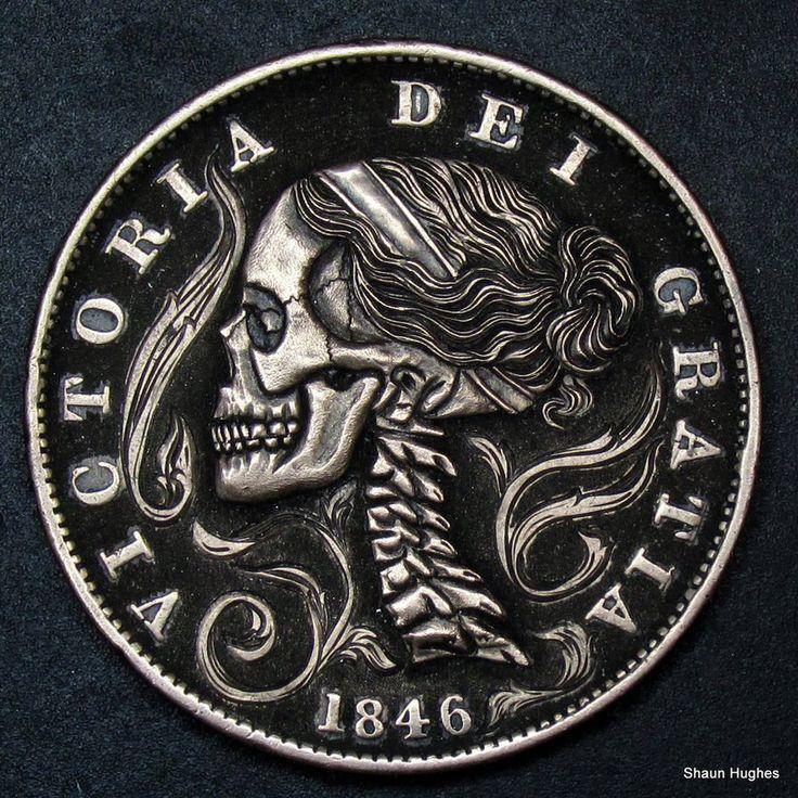 Hand Carved Skull Penny by Shaun Hughes by shaun750 on DeviantArt