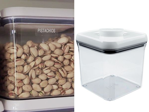 Khloe Kardashian stores grains and nuts in OXO's Pop Square containers (available in 12 different sizes to meet your dry food storage needs).