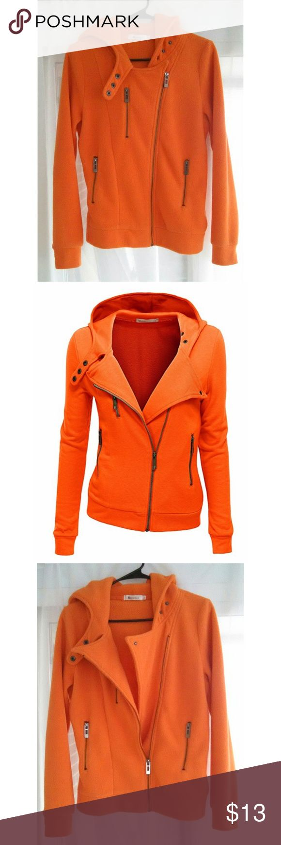 Bright Orange Fleece Asymmetrical Style Full Zip Doublju brand slim fit fleece zip up hoodie jacket, size L, which runs about 2 sizes smaller, so fits closer like an XS/S women's.   Gently loved condition, no stains, no holes, no pilling.  Smoke free No trades Please feel free to ask questions or make offers/bundles! Thanks for looking :) Doublju Jackets & Coats