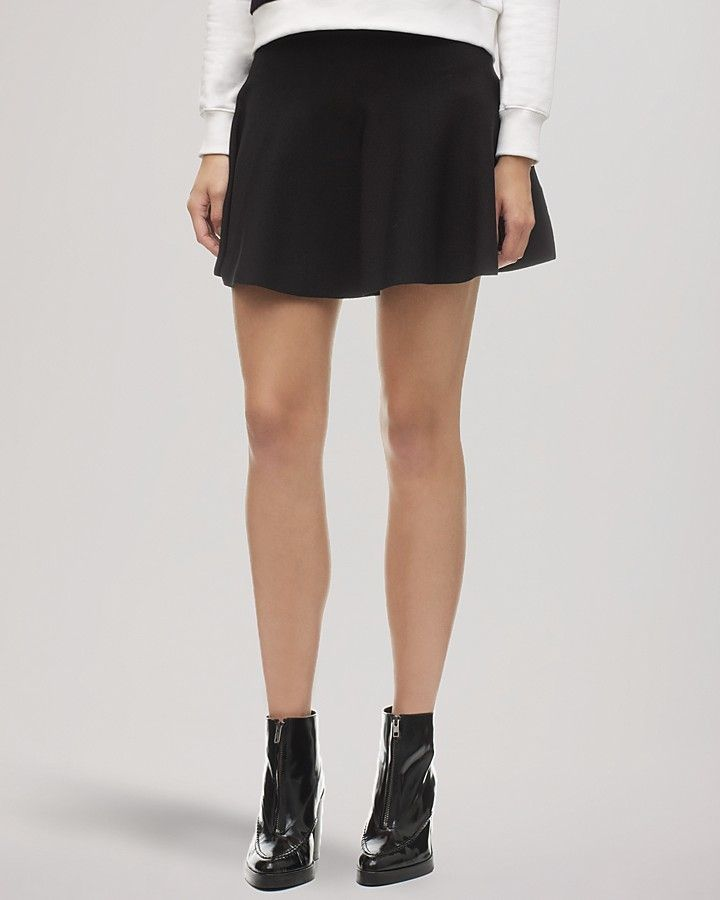 $66, Black Skater Skirt: Whistles Skirt Knit Skater. Sold by Bloomingdale's. Click for more info: https://lookastic.com/women/shop_items/131927/redirect