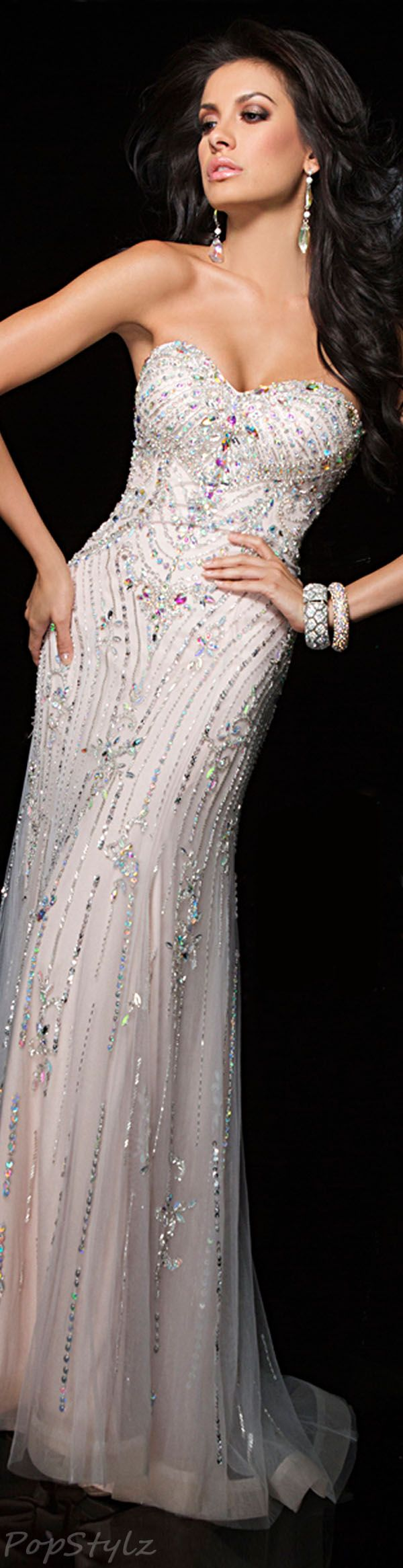 Tony Bowls Evening Gown - great bridal dress for the reception.  I would love this dress in Navy with sheer sleeves.
