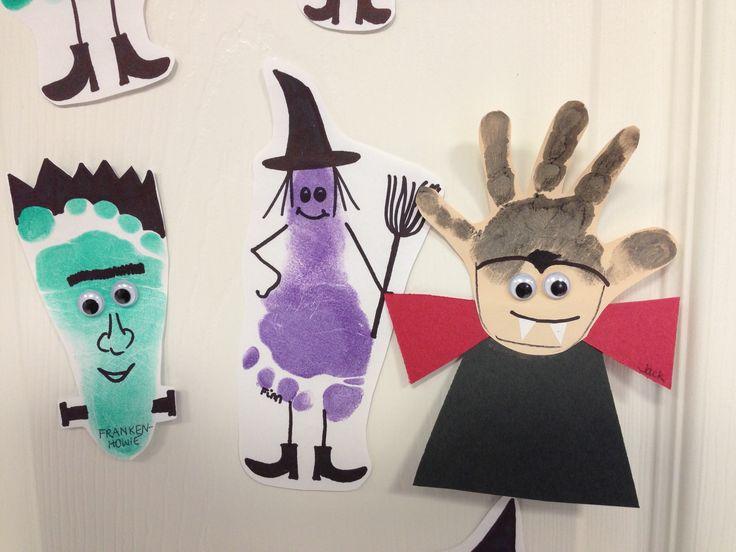 Frankenstein, Witch & Vampire Hand/ footprint art