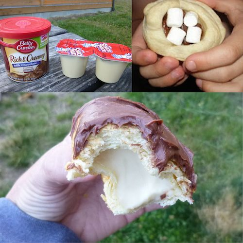 11 Creative DIY Ideas you are sure to Love! - Woof-em type biscuits, vanilla pudding, and marshmallows, covered with chocolate frosting